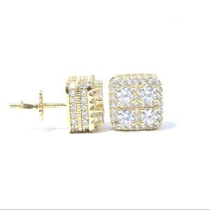Other - Yellow Gold Finish Lab Diamond 3D Square Earrings